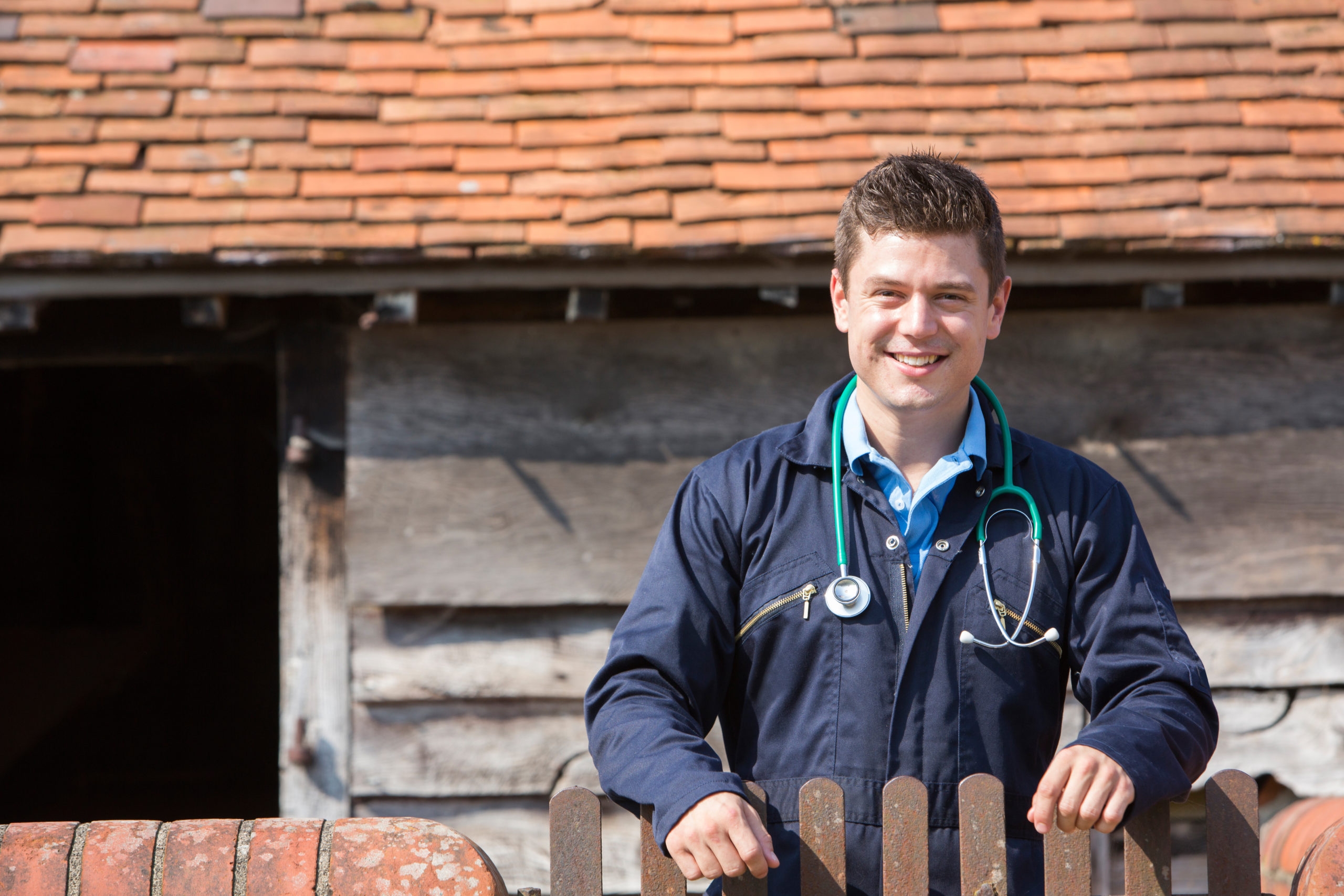 Male vet on a farm - Bovine TB