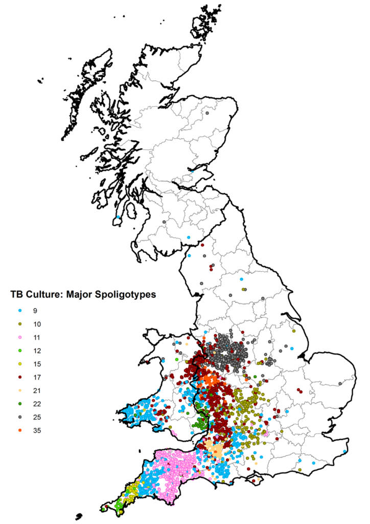 Spoligotype map 2018 - Bovine TB